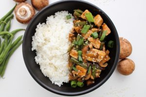 Chicken Green-Bean-Mushroom-Stir-Fry-in-a-bowl