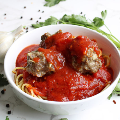 Homemade Meatballs with Spaghetti in a bowl