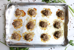 Homemade Meatballs with Spaghetti on a baking pan