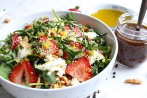Recipe for Strawberry Salad in a bowl angle view