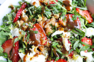 Recipe for Strawberry salad close up