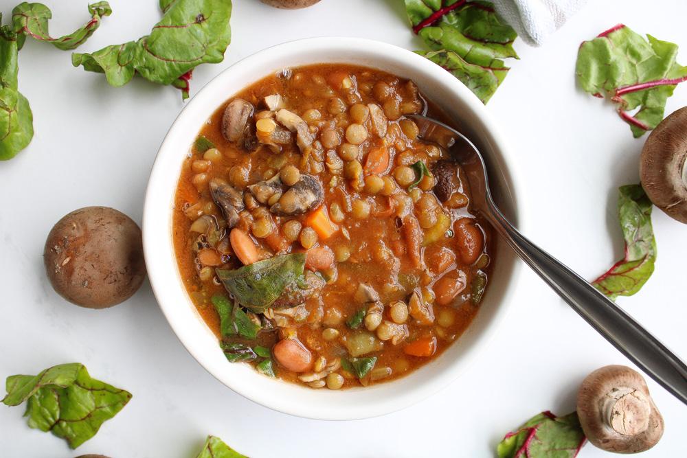 Crock Pot Vegetable Soup close up with spoon