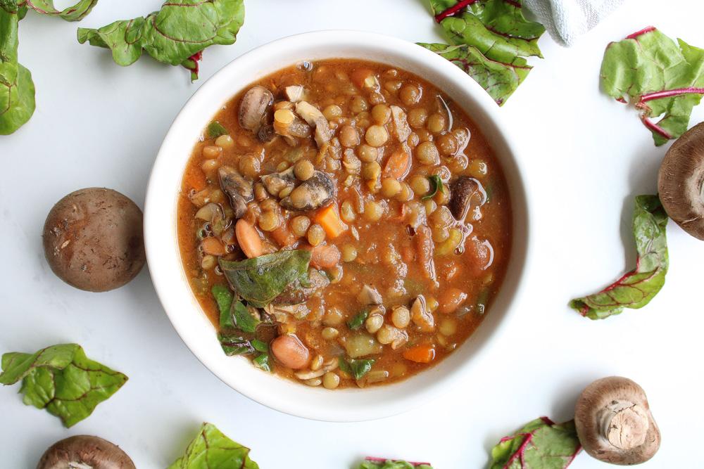 Crock Pot Vegetable Soup in white bowl
